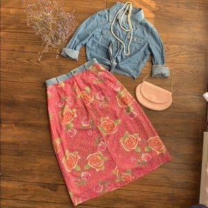 Floral Skirt with Denim waistband
